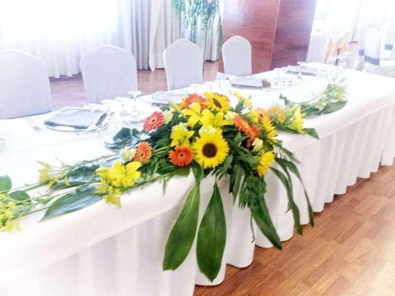 Flores para banquetes de bodas