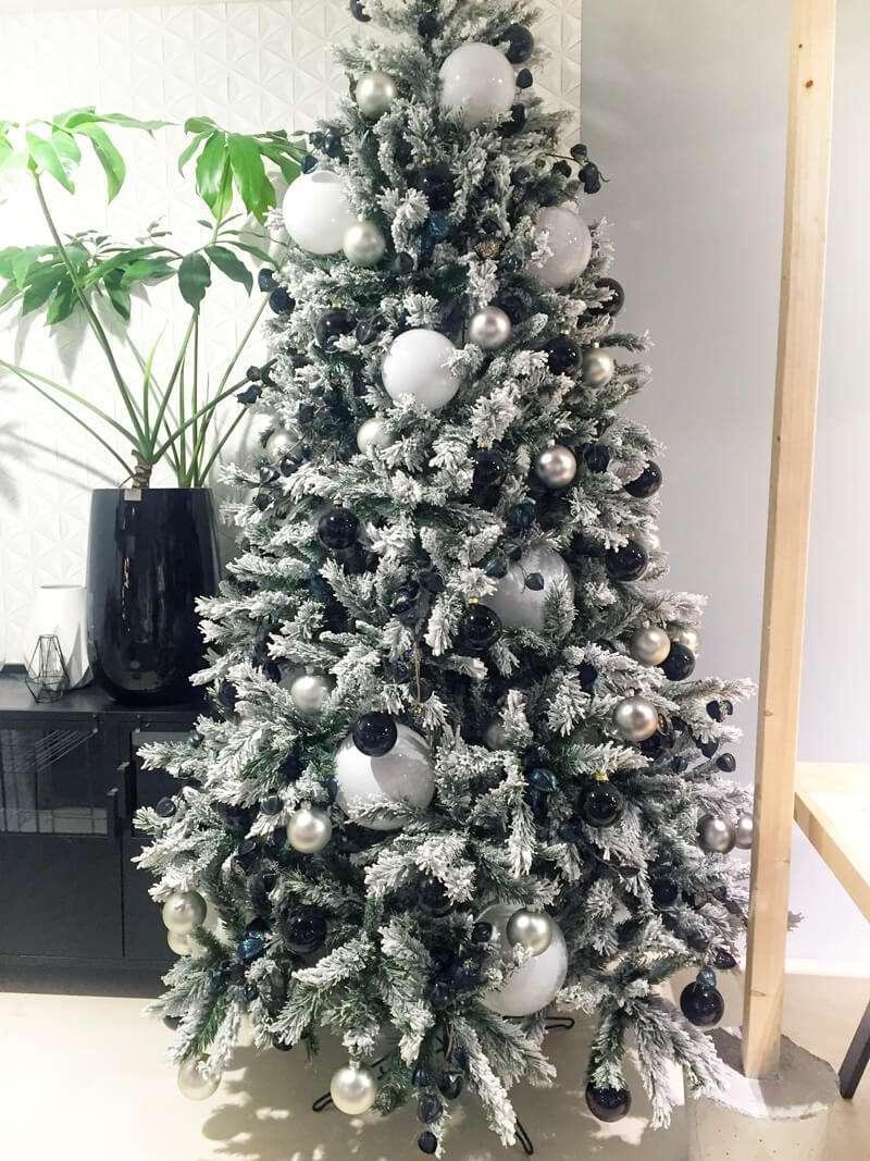 Rbol de navidad blanco nieve flores fela bodas y eventos - Arbol navidad nieve ...