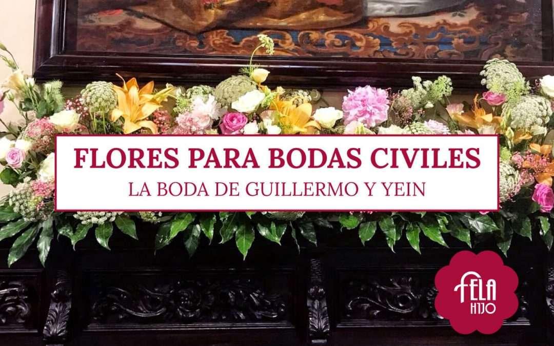 Las flores para boda civil de Guillermo y Yein